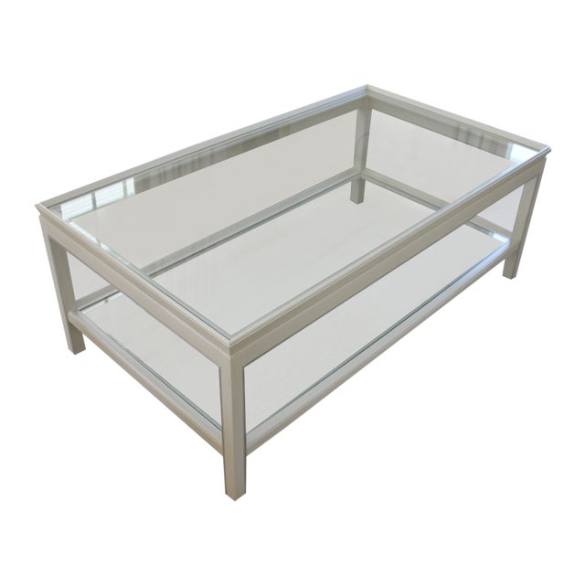 Country Swedish Painted Wood & Glass Coffee Table - Image 1 of 8