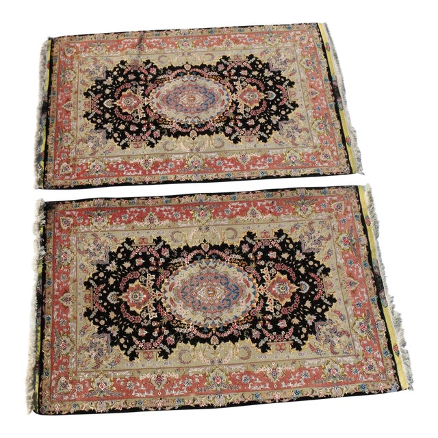 Antique Silk & Wool Persian Rugs - A Pair