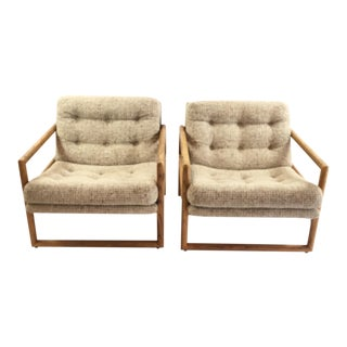 Milo Baughman Oak Cube Chairs for Thayer Coggin - A Pair