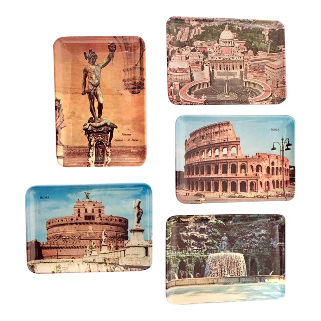 Vintage Mebel Melamine Italian Souvenir Tip Trays - Set of 5 - Image 1 of 11