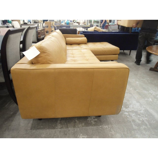 Tan Leather Sectional Sofa, Right Chaise, Tufted Seating - Image 4 of 8