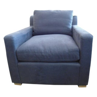 Restoration Hardware Upholstered Navy Armchair