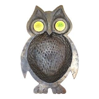 Aged Metal Owl Trinket Tray