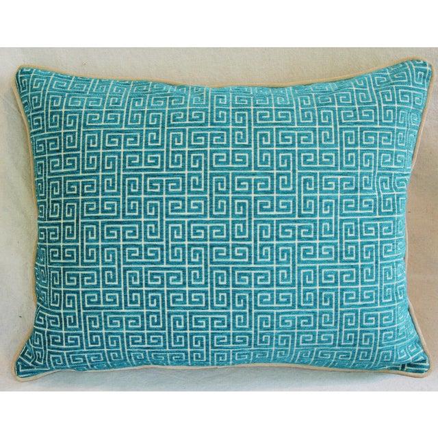 Designer Turquoise Greek Key Velvet Pillows - Pair - Image 7 of 8