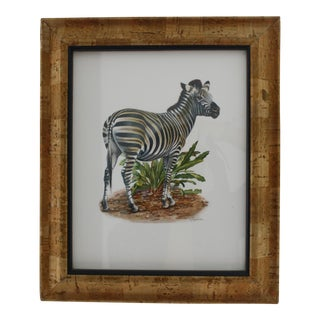 Vintage Turner Zebra Print in Cork Frame