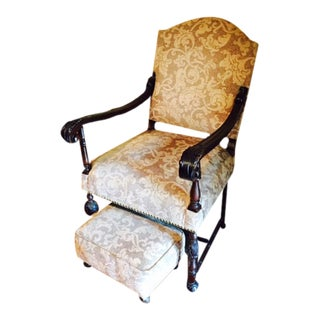 French Louis XIII Style Arm Chair & Foot Stool