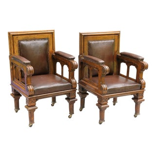 Antique Leather Library Chairs - a Pair