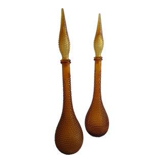 Gold Handblown Murano Glass Genie Bottle Decantors