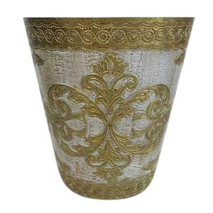 Vintage Florentine Italy Italian White and Gold Waste Basket Trash Can Bin