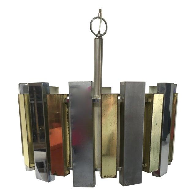 Mid-Century Brass Chandelier - Image 1 of 6