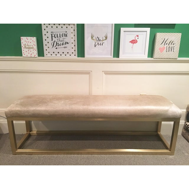 Taylor Burke Home Brass Champagne Cowhide Kelly Bench - Image 3 of 4