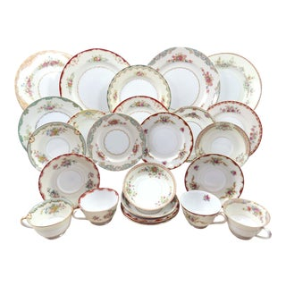 Vintage Mismatched Fine China Dinnerware - Service for 4 (24 Piece Set)