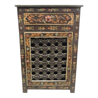 Black Hand painted vintage Indian night stand with Drawer