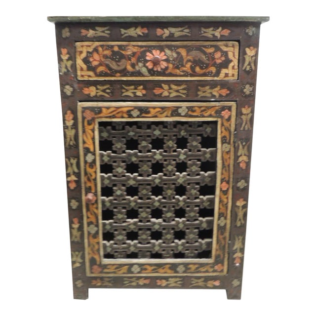 Black Hand painted vintage Indian night stand with Drawer - Image 1 of 5