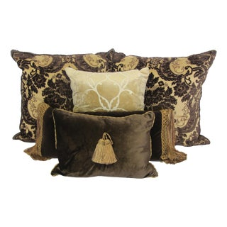 Chocolate & Gold Velvet Jacquard Pillow Collection