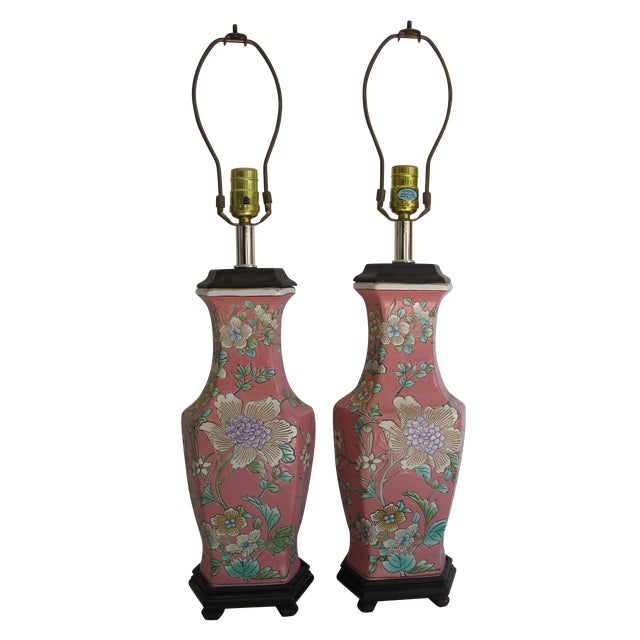 Vintage 1930s Pink Chinoiserie Lamps - A Pair - Image 1 of 10
