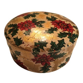 Vintage Christmas Poinsettia Paper Mache Coasters in Box