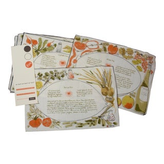 Vera Neumann for Gumps Hand Painted Placemats and Napkins - Set of 8