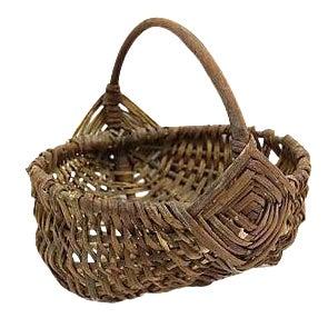 Antique French Wicker Market Basket