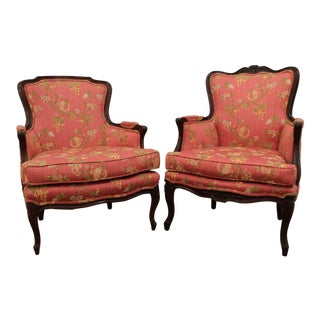 Carved French Ladies Arm Chairs - A Pair