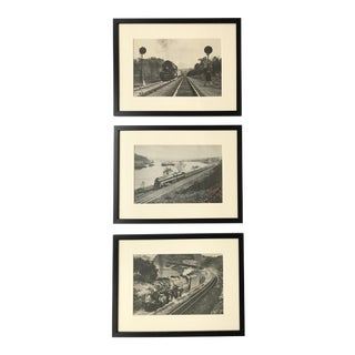 Mid-Century Framed Steam Engines Prints - Set of 3