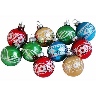1960s Glitter Christmas Ornaments - Set of 10