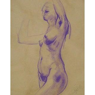 Nude Study in Purple Chalk by B. Woosley