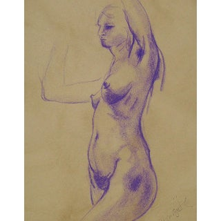 Nude Study in Purple Chalk by B. Woosley