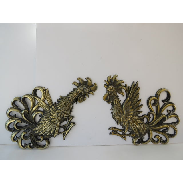 Brass Rooster Wall Hangings- A Pair - Image 2 of 9
