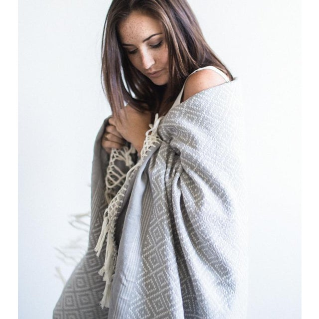 Gray Diamond Handwoven Throw - Image 5 of 6