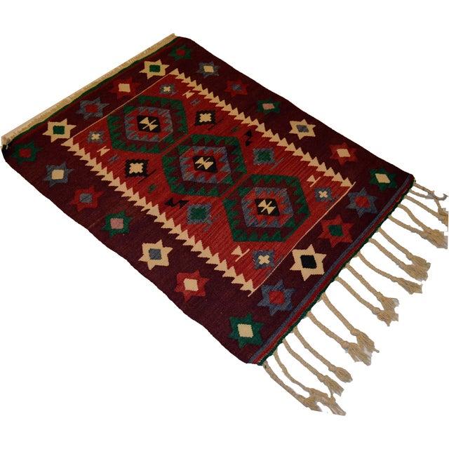 Hand-Woven Turkish Flatweave Rug - 2′7″ × 3′7″ - Image 1 of 9
