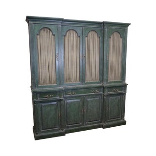 Auffray Custom Painted French Louis XV Style Large Breakfront Bookcase Cabinet