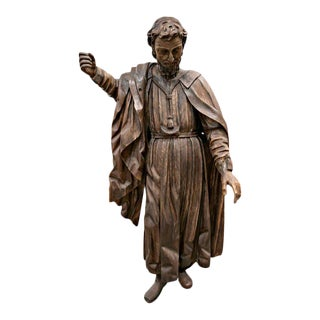 Rare 18th Century Life Size Carved Wood Statue of St. Joseph