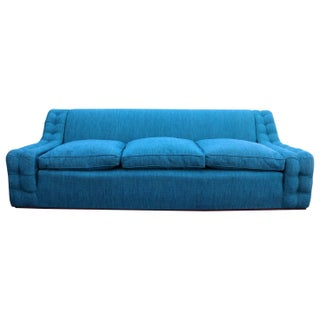 Mid Century Blue Tufted Arm Plinth Base Sofa