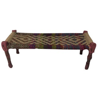 Vintage Jute Woven Bench