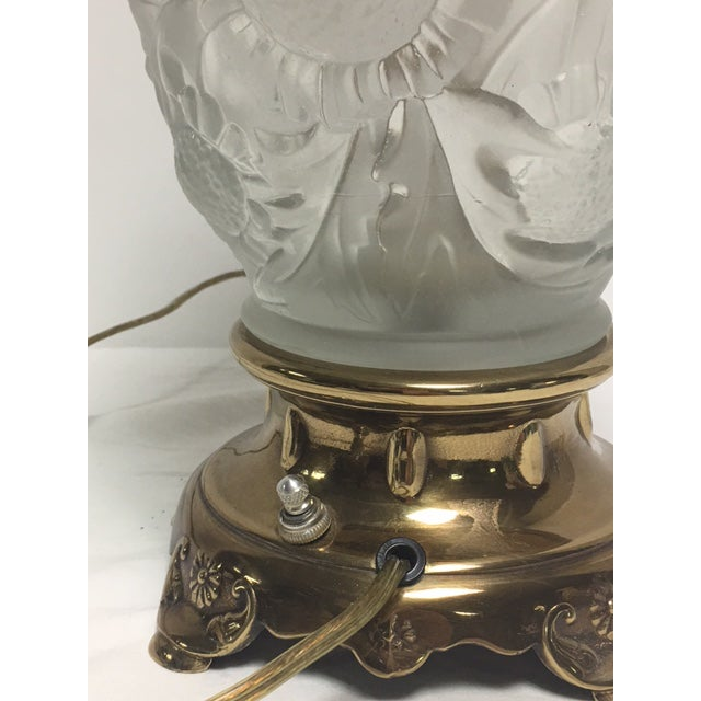 Rembrandt Frosted Glass Floral Table Lamp - Image 7 of 9