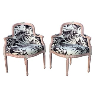 Palm Print Club Chairs with Pink Trim