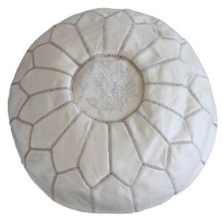 Moroccan Style Cream Leather Pouf
