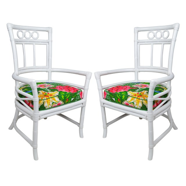 Ficks Reed Colony White Rattan Armchairs - a Pair - Image 1 of 7