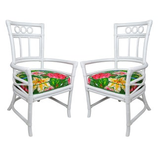 Ficks Reed Colony White Rattan Armchairs - a Pair