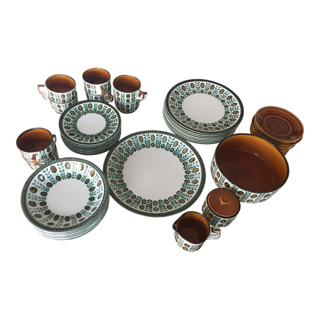 Belgium Boch Noix Hand Painted Place Settings - 44 Pieces - Image 1 of 10