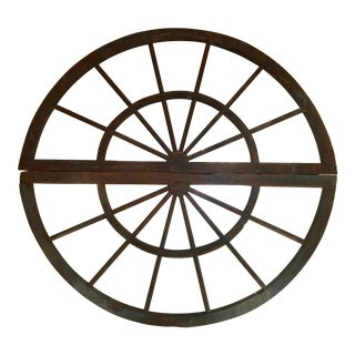 Huge Antique Double Arched Round Wheel Mirror