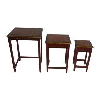 Leather Top Nesting Tables - Set of 3
