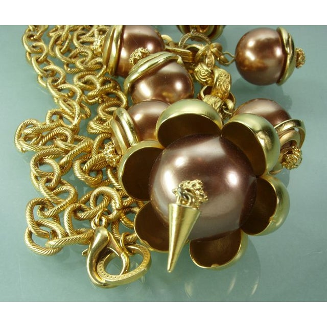 1980s Runway Cocoa Pearls Long Pendant Necklace - Image 5 of 7