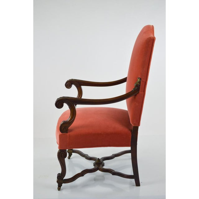 French Louis XIII-Style Velvet Armchair in Salmon - Image 2 of 7