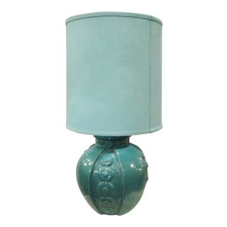 French Art Deco Blue Glaze Ceramic Lamp
