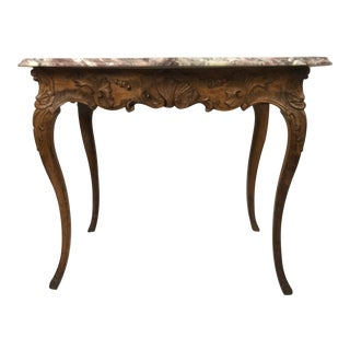 French 19th Century Carved Walnut and Marble Top Center / Console Table
