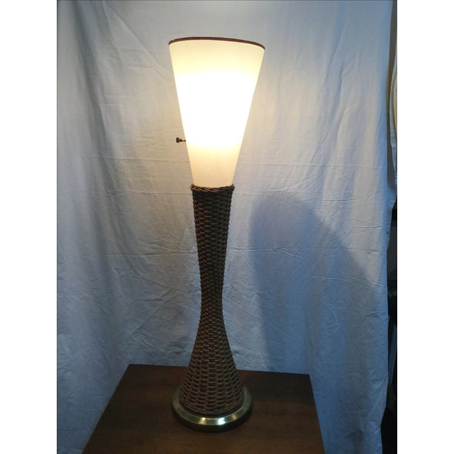 Modeline Brass and Rattan Modern Table Lamp - Image 3 of 9