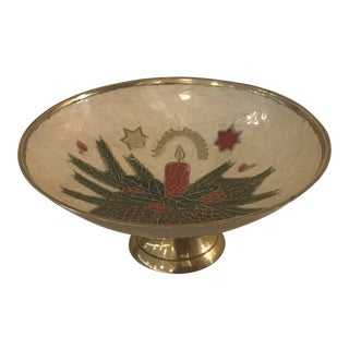 Vintage Brass and Enamel Holiday Footed Bowl