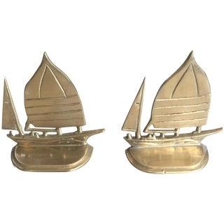Brass Ship Bookends - Pair